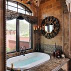 美式风格高档卫生间仿古墙砖装修效果图