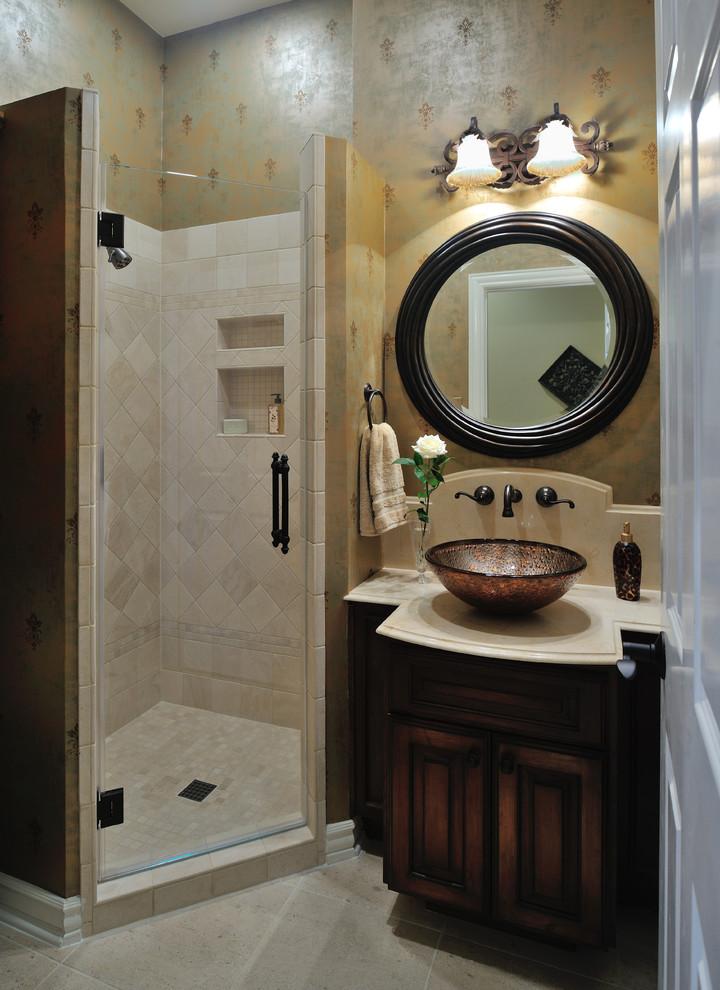美式风格二室一厅干湿两用卫生间墙面瓷砖花纹壁纸装修效果图 设计本装修效果图