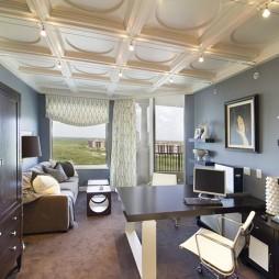 2017欧式风格三室一厅阳台书房吊顶装修效果图