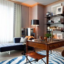 2017现代风格二居室经典书房展示柜落地窗帘装修效果图