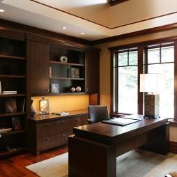 2017现代风格两室一厅临窗书房书柜装修效果图欣赏