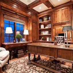 美式风格两室一厅临窗书房实木书柜装修效果图