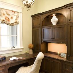 2017美式风格两室一厅临窗小书房书柜装修效果图