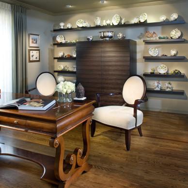 2017欧式风格三室一厅创意书房展示柜装修效果图