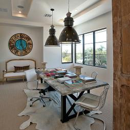 2017混搭风格三室一厅创意临窗书房吊顶装修效果图欣赏
