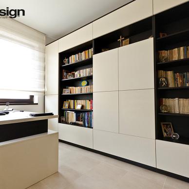 2017现代风格三室一厅时尚家居书房书柜装修效果图欣赏