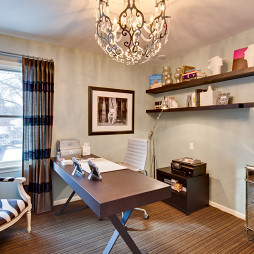 2017现代风格三室一厅书房临窗书桌装修效果图