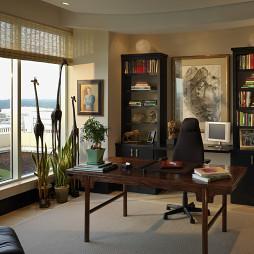 2017中式风格三室一厅时尚书房书柜家具装修效果图欣赏
