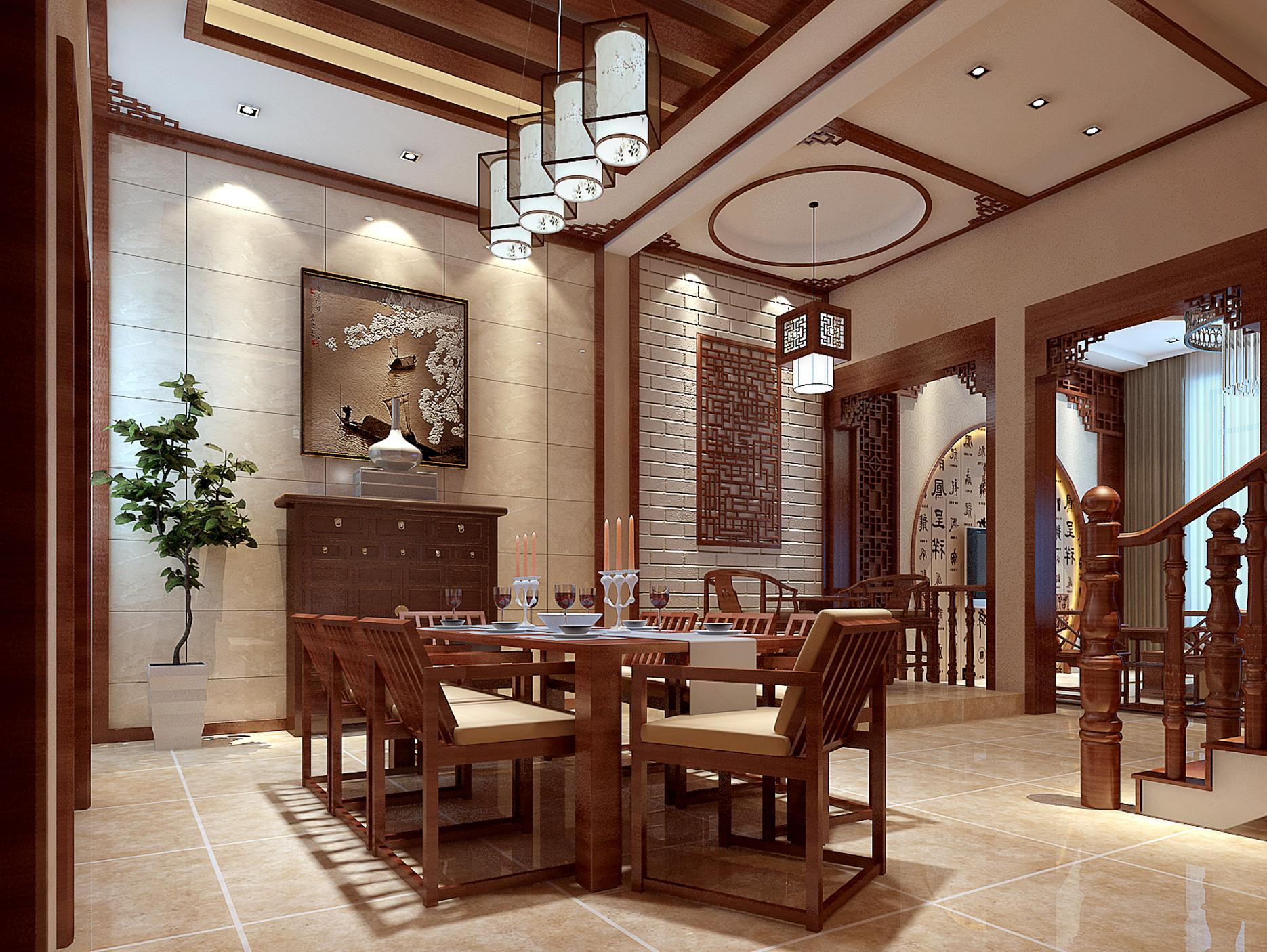 中式装修效果图_样板房中式餐厅装修效果图 – 设计本装修效果图