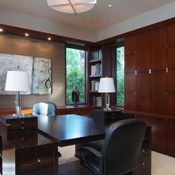 美式风格三室一厅开放式书房书柜装修效果图
