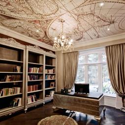 混搭风格三室一厅经典书房书柜电脑桌装修效果图