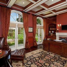 美式风格三室一厅豪华书房实木吊顶装修效果图