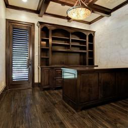 欧式风格三室一厅最新书房吊顶书柜书架书桌百叶窗帘装修图片