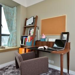 2017现代风格三室一厅书房书架装修效果图