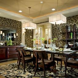 新古典家庭餐厅酒柜博古架贴墙瓷砖拼花设计装修效果图