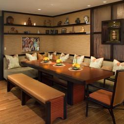 家装东南亚餐厅博古架设计装修效果图