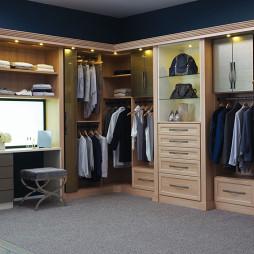2017现代风格三室一厅L型嵌入式衣帽间衣柜装修效果图片