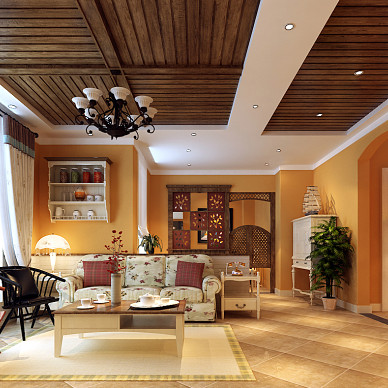 110110平米客厅满实木吊顶装修效果图