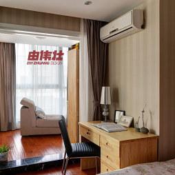 2017现代风格二室一厅宜家大卧室阳台兼书房窗帘装修效果图