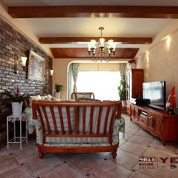 别墅地中海风格客厅假梁吊顶效果图