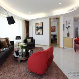 天津大悦公寓样板房异形客厅吊顶灯池装修效果图