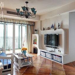 90平米小客厅落地窗帘设计装修效果图