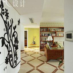 2017东南亚风格三居室最新经典客厅进门玄关装修效果图片