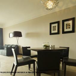 家装三居室现代客厅餐厅不吊顶挂画背景墙黑白设计效果图片
