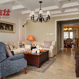 三居室客厅多梁吊顶灯装修效果图
