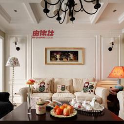 120平米美式乡村风格客厅石膏线效果图