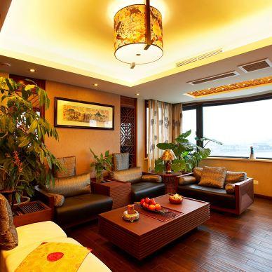 宁波碧水华庭公寓复式红木中式客厅吊顶灯具设计