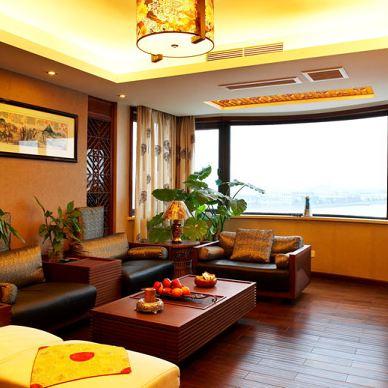 宁波碧水华庭复式楼全中式客厅屏风带鞋柜沙发壁纸手绘挂画背景墙