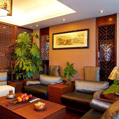 宁波碧水华庭公寓复式客厅中式进门玄关鞋柜及屏风隔断