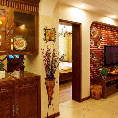 青林湾二居室客厅过道储物柜设计效果图