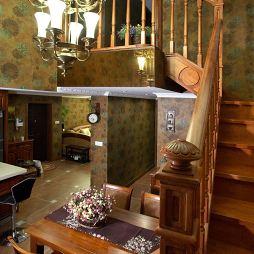 雅致之家欧式实木楼梯扶手装修效果图