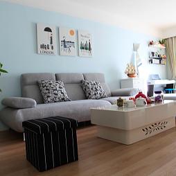 简欧10平米客厅无框画墙漆窗帘设计效果图