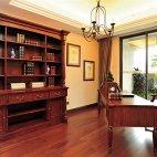 美式古典书房家用书柜效果图
