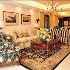 御翠尚府别墅现代美式风格客厅石膏线挂画背景墙效果图