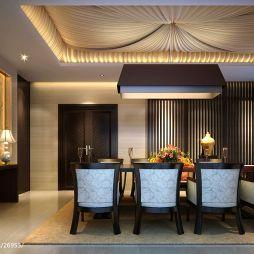 碧海庄园楼王中式餐厅木质装饰墙壁效果图