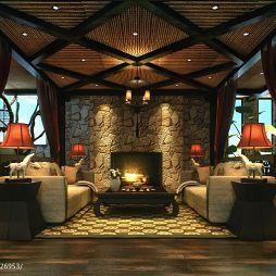 碧海庄园楼王中式客厅吊顶壁炉墙装修效果图