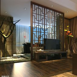 碧海庄园楼王中式卧室镂空隔断装修效果图