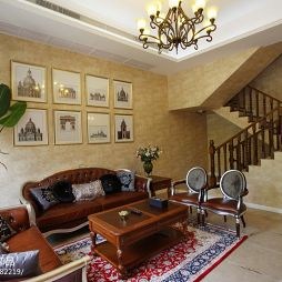 美式风格别墅室内壁纸背景墙客厅设计效果图