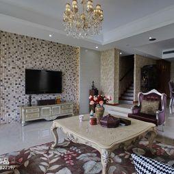 别墅最新马赛克客厅影视墙效果图