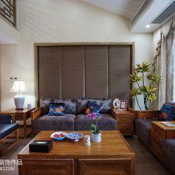 简约新中式别墅客厅沙发背景墙效果图