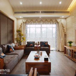 现代简约新中式·钟鼎山庄别墅客厅窗帘效果图片欣赏