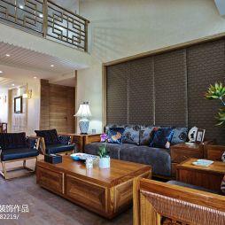 别墅简约新中式客厅沙发背景墙效果图