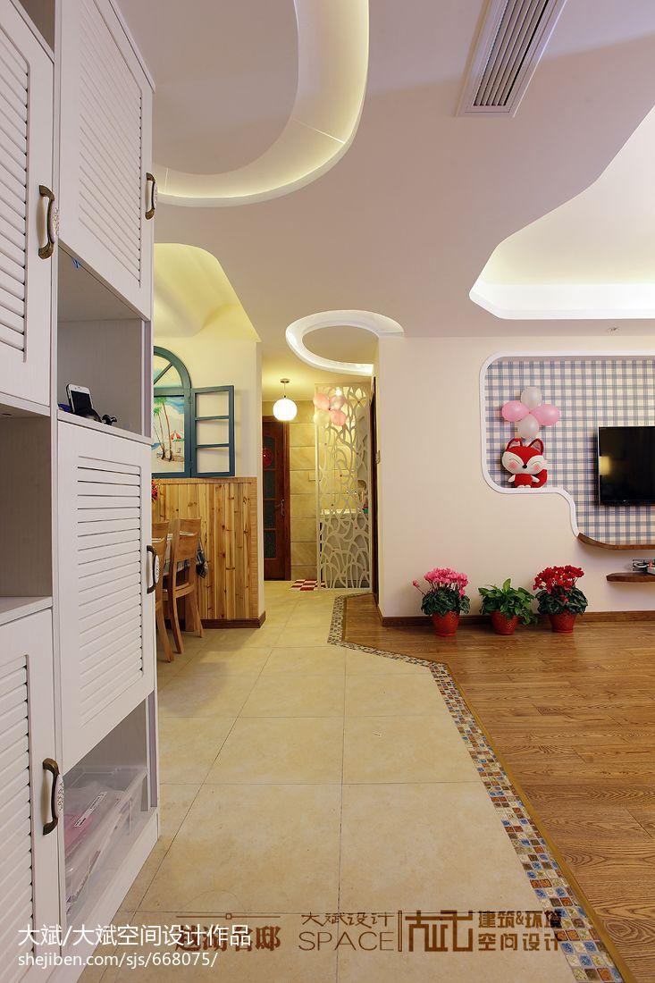 美图手机效果图_现代风格40平米客厅进门隔断走廊石膏板造型边棚设计 – 设计本 ...