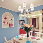 梦幻童话现代餐厅蓝色背景墙装修效果图
