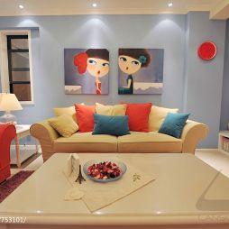 10平米室内客厅不吊顶手绘挂画背景设计图片