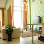 镂空复式楼暖色调客厅影视墙小吧台隔断效果图